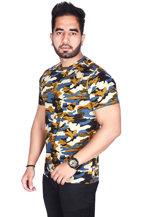 Pack of 3 - BSF Camouflage T-Shirts - COMBO (Dark Blue, Premium Green & Coffey)