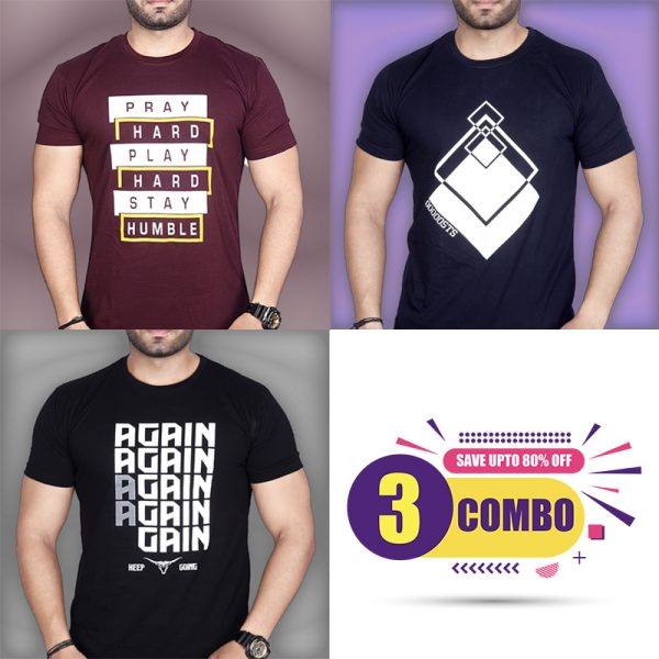 Pack Of 3 - Pray Hard, Again & Premium STS Combo T-Shirts