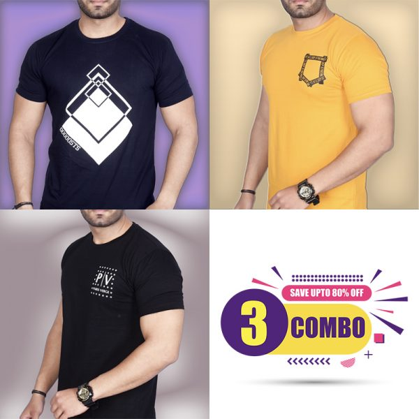 Pack Of 3 - Premium STS, Official PV & Mini Pocket Combo T-Shirts