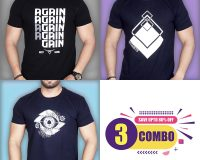 Pack Of 3 - AGAIN, STS & Designer Eye Combo T-Shirts
