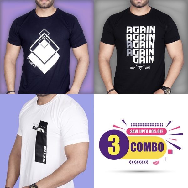 Pack Of 3 - Premium STS , Again & Brooklyn NY Combo T-Shirts