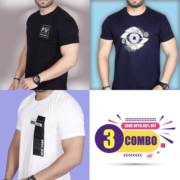 Pack Of 3 - Official PV , Designer Eye & Brooklyn NY Combo T-Shirts