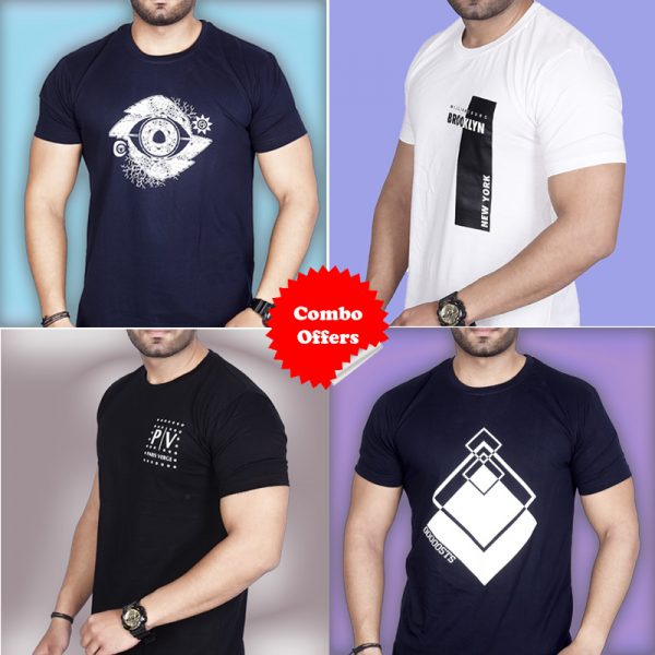 Pack Of 4 - Official PV, Premium STS, Designer Eye & Brooklyn NY Combo T-Shirts