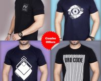 Pack Of 4 - Premium STS, BROCODE, Official PV & Designer Eye Combo T-Shirts
