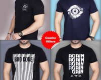 Pack Of 4 - Again, BROCODE, Designer Eye & Official PV Combo T-Shirts