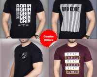 """Pack Of 4 - Pray Hard, Official PV, A""""GAIN & BROCODE Combo T-Shirts"""