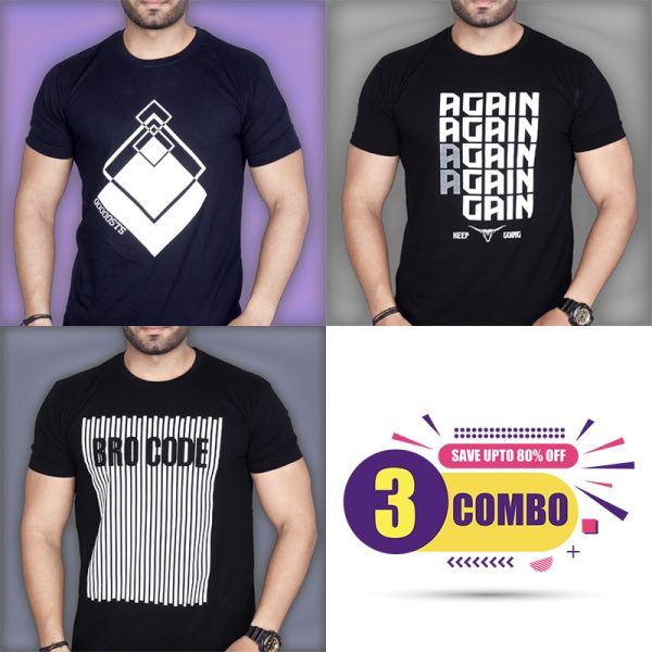 Pack Of 3 - STS, AGAIN & BROCODE Combo T-Shirts