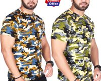 Combo - BSF Camouflage T-Shirts - Pack of 2 (Premium Coffey & Green Combination)