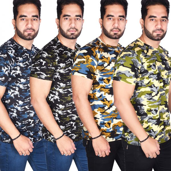 Pack of 4 - BSF Camouflage T-Shirts - COMBO (Dark Blue & Green, Premium Coffey & Green)