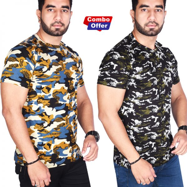 Combo - BSF Camouflage T-Shirts - Pack of 2 (Premium Coffey & Dark Green Combination)