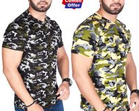 Combo - BSF Camouflage T-Shirts - Pack of 2 (Dark Green & Premium Green)