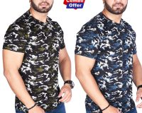 Combo - BSF Camouflage T-Shirts - Pack of 2 (Dark Green & Dark Blue)