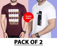 Pack Of 2 - Pray Hard & Brooklyn New York T-Shirts (Combo Offer)
