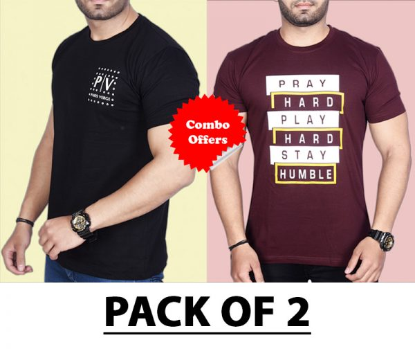 Pack Of 2 - Official PV & Pray Hard Combo T-Shirts