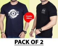 Pack Of 2 - Designer Eye & Official PV  Combo T-Shirts